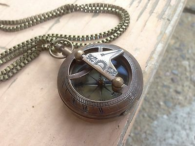Handmade Sundial Steampunk Statement Necklace Antique Vintage Pendant Nautical