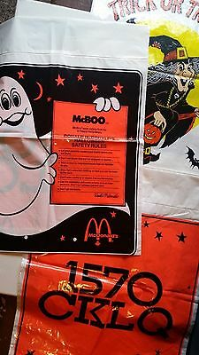Vintage Halloween Trick Or Treat Bag Sack Plastic Lot of 3 McDonalds Witch McBoo