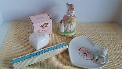 Vtg Lot of Avon Collectables Heart Scent Sachet Creme Jar Toothbrush Dish Bunny