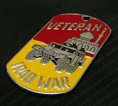 Steel Army Name Dog Tag with Chain IRAQ WAR VETERAN