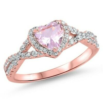 .925 Sterling Silver Pink Heart CZ Rose Gold Plated Promise Ring Size 4-12 NEW