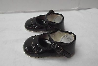 vtg baby girl newborn blk patent leather mary jane shoes 4in white soles size 1