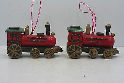 "2 Wooden Train Engine Locomotive Ornaments 3 1/2"" Long"