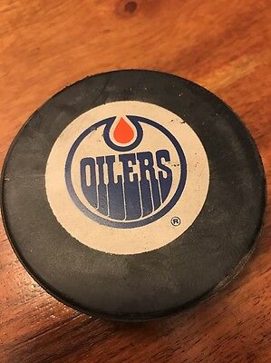 Vintage NHL Official Game Puck EDMONTON OILERS Hockey Trench (KC)