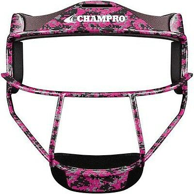 New CHAMPRO The Grill Softball Fielder Mask Wide Vision Pink Camo Youth or Adult
