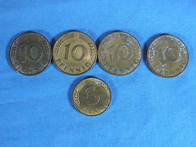 Lot Of Five (5) 5 & 10 Pfennig German Coins-Circulated & Ungraded - 1949 To 1950