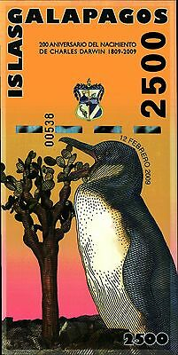 Galapagos Islands,  2500  Sucres,  2009,  Unc, Polymer, Note