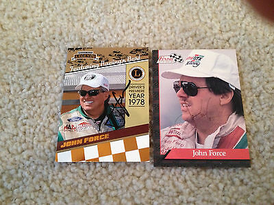 Lot Of 2 John Force Signed Autograph Cards Nascar