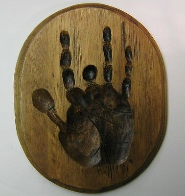 Jerry Garcia Grateful Dead Wood Hand Imprint Plaque Display with Hanger