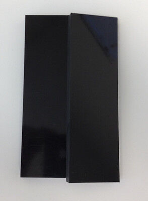 """2 Black Paper Micarta 3/8"""" Thick Knife Handle Material Scales 6"""" x 2"""" .375"""""""