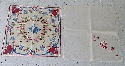 Sweet Valentine Hankie Lot of 2 Embroidered Ribbon Hearts Kissing Couple Flowers