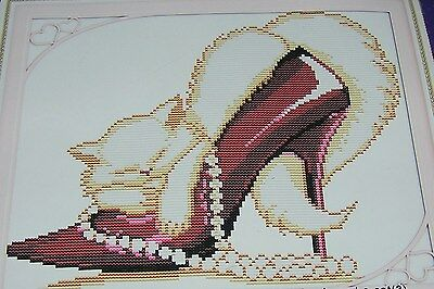 Cross Stitch Kit No Count Beautiful White Fluffy Persian Cat Pearls Red Stiletto