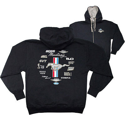 Apparel Hoodie Zip-Up Black Ford Mustang Emblems X-Large