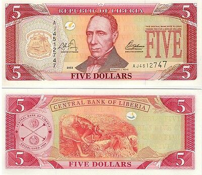 Liberia   $5.00  Dollars   2003   P-26A    Unc   Banknote  Africa
