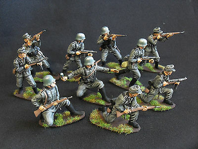 airfix/CTS/matchbox pro-converted + painted 1/32  German infantry ww2 54mm x 10