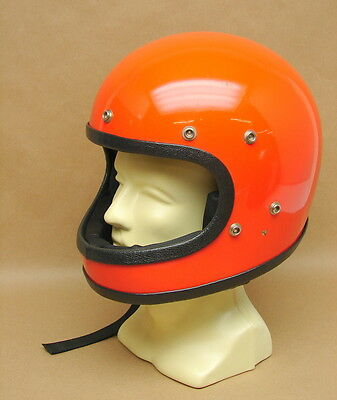 Vintage NOS Orange Full Face Motorcycle Scooter Helmet Buco? Bell? Extra Large