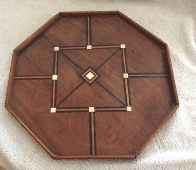Vintage Wooden Inlay Marquetry Octagonal  Galley Tray