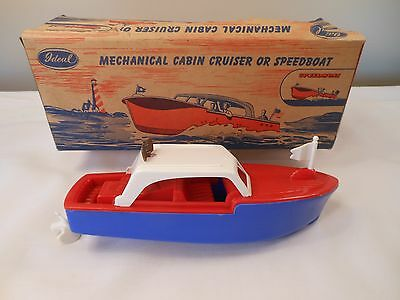 Vintage 1950s Ideal Toy Mechanical Wind-Up Cabin Cruiser Speedboat NMint in Box