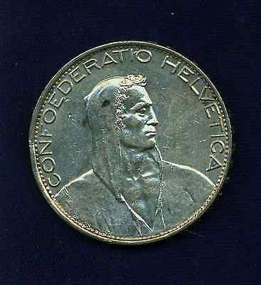 Switzerland Republic 1925-B  5 Francs Silver Coin, Almost Uncirculated+