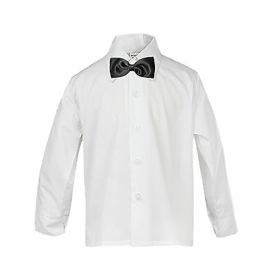 Baby Boy Formal Tuxedo Suit WHITE Button Down Dress Shirt Black Bow tie  SM-4T