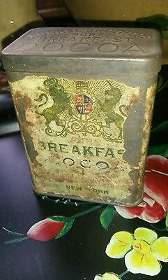 Antique 1900's Primitive Runkel Brothers Breakfast Cocoa Tin 1/2lb Advertising