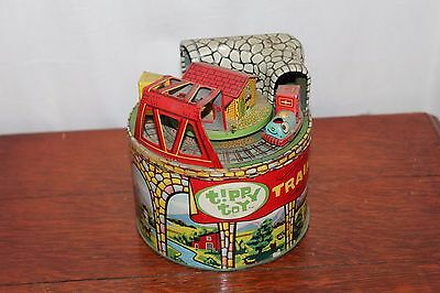 1950s Vintage Tippy Toy Spinning Gravity Toy Train Tin Litho Made in Japan