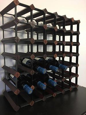 Wooden and Steel wine rack Belair 42  bottle cellar Timber storage