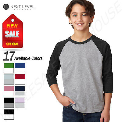 Next Level Youth CVC 3/4-Sleeve Raglan Baseball T-Shirt M-3352