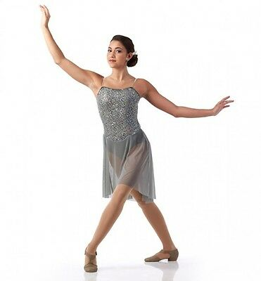 Glimmer Dance Costume Gray Lyrical Ballet Contemporary Ice Skating Clearance