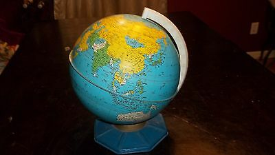 "Vintage Tin Metal World Globe With Octagon Base 7"" Very Old 1957 - 1970"