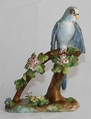 JT Jones crown Staffordshire porcelain Blue bird repaired broken wing