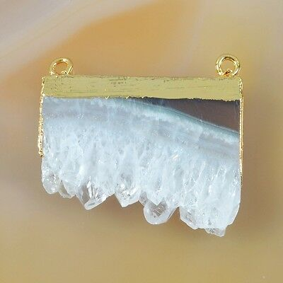 Rare Amethyst Druzy Slice Connector Gold Plated B031603