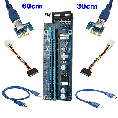Extender Riser Adapter USB 3.0 PCI-E Express 1x To 16x Set Power Cable lot Q4F