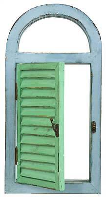 Vintage Window Shutter and Mirror Wall Decor in Green and Blue [ID 3499366]
