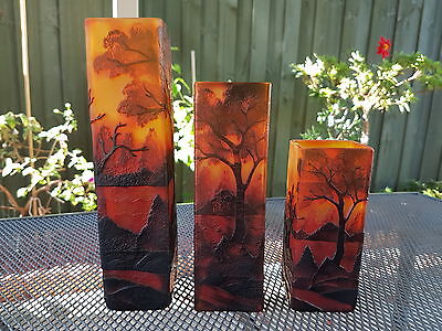 Set Of 3 Galle Style Glass Vases Landscape
