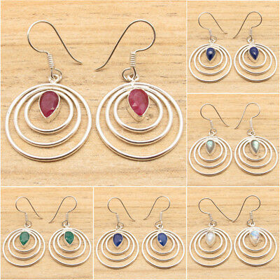 925 Silver Plated SIMULATED RUBY & Other FASHION Gemstones Variation Earrings
