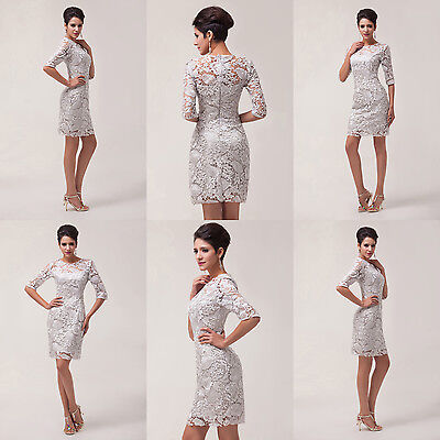 VINTAGE Lace Formal Mother of the Bride Groom Wedding Gowns Prom Party Dresses