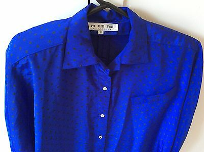 Royal Blue Shirt And Pleated Skirt Set - Original Vintage 1980s