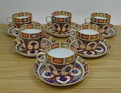 Royal Crown Derby Set of Six 1128 Coffee Cups and Saucers 1927/28 1st Quality