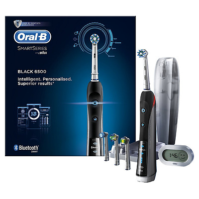 Oral-B Smart Series 6500 Electric Rechargeable Toothbrush Powered by Braun - Bla