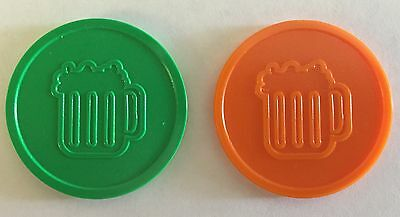 Plastic Beer Drink Tokens - Bag Of 100 - Embossed Both Sides - Xmas Party Event