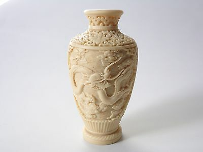 Chinese Resin Vase With Dragon Design