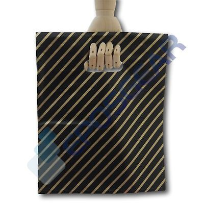 50 Medium Black and Gold Striped Gift Shop Boutique Plastic Carrier Bags