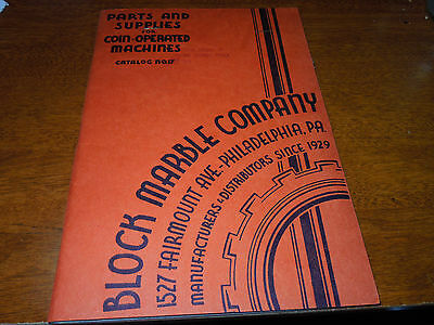Vintage Block Marble Co. Parts Book For Coin Ops-1942 Mint