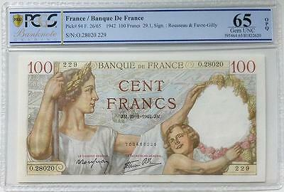 FRANCE - 100 Francs Sully 1942 - PCGS 65 OPQ
