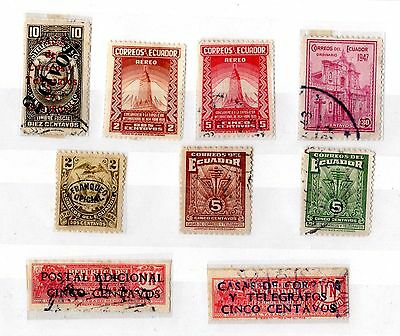 Ecuador Small Collection of 9 Including Telegraph Stamps Fine Used X5344