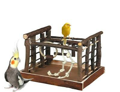 Wooden Bird Pet Budgie Canary Playground Natural Perch Ropes Swing Fun