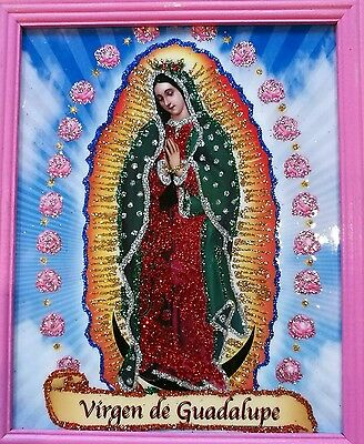 Virgin of Guadalupe Glittery & Gorgeous Framed Picture Religious Icon #004