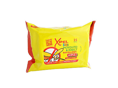 25 Xpel Kids Mosquito & Insect Repellent Wipes Deet Free Long Lasting Protection