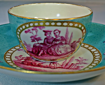 18th Century Meissen style Cup & Saucer made by the Limbach Factory C 1780
